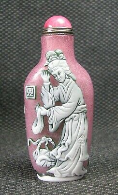 Chinese Seiko Carve Fairy Design Glass Snuff Bottle***