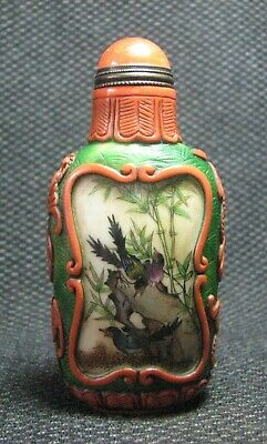Chinese Glass Delicate Hand Painted Birds And Bamboos Snuff Bottle***--