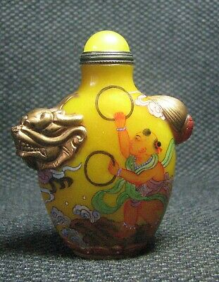 Chinese Delicate Glass Hand Painted Children And Dragons Snuff Bottle***--