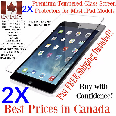 2X Ultra Clear Premium Tempered Glass Screen Protector for ALL Apple iPad Models