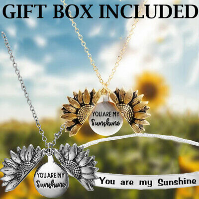 You are My Sunshine Engraved Open Locket Sunflower Pendant Necklace Jewelry Gift