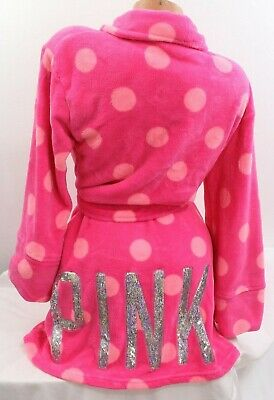 M L Victoria/'s Secret PINK Holiday Sherpa Sequin Bling Plush Bath Spa Robe NWT