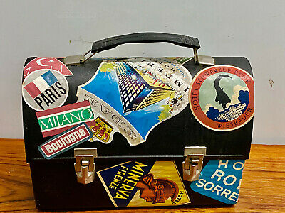 Vintage Lunchbox European Travel & Hotel Stickers  Cosmetic Train Jewellery Case