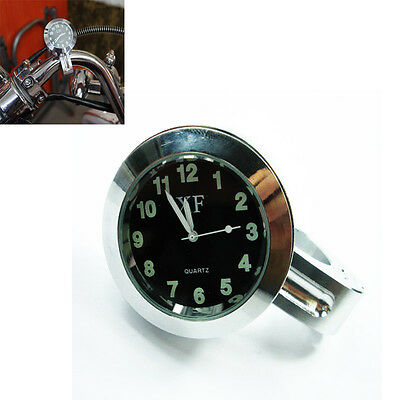 1'' Motorcycle Handlebar Clock Dial Watch For Yamaha Ducati Kawasaki Suzuki BMW