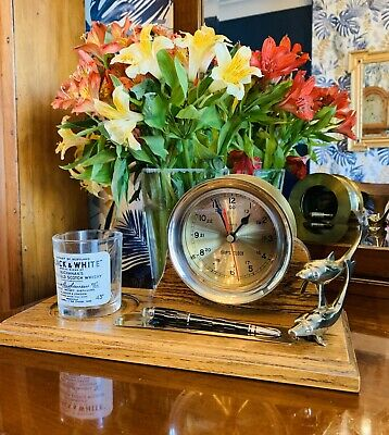 Superb Mid 20thC Solid Brass Ships Drum clock and Oak desk tidy