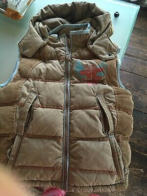 Fat Face Boys Childs Hooded Padded Gilet Jacket Bodywarmer Age 6-7  Brown Beige