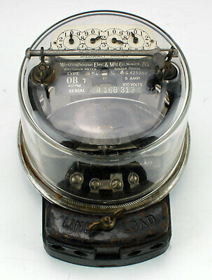 Vintage Westinghouse Type OB Electric Meter 5 Amp 100 Volts Single Phase Sealed