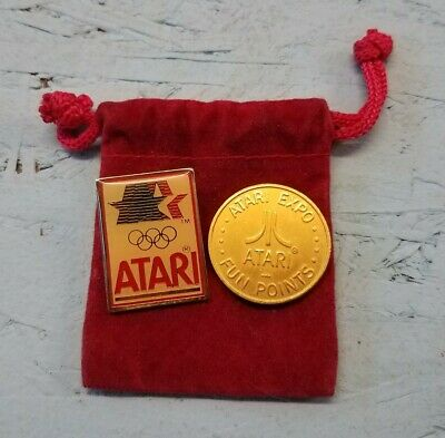 Vintage 1980 LA Olympic Committee ATARI Pin rare Video game expo gold token coin