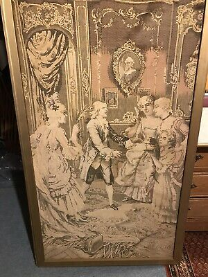 "Vintage French Made Wall Tapestry 55"" x 32"" Woven 18th Century Parlor Scene"