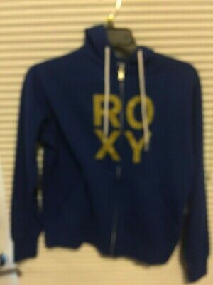 ROXY Size XS Hoodie Jacket Drawstring Hood Blue w/ gold letters New w/tag