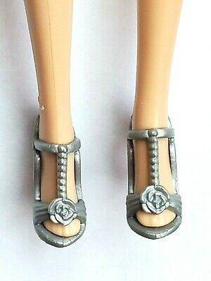 Mattel Barbie Fashion Doll Shoes - Silver Gray High Heels fits Model Muse