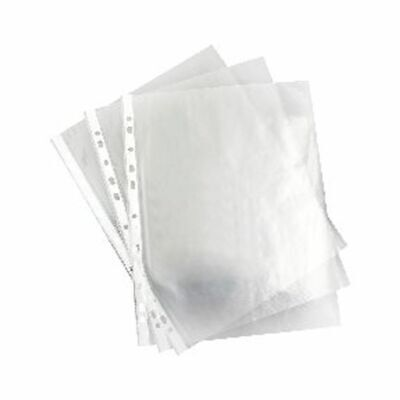 100x A4 Punched Pockets Clear Plastic Filing Sleeves Wallets Ring Binder Lever A