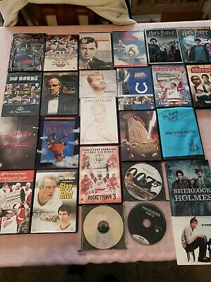 DVD Lot Of 25 Different Full Length Movies On 25 Disc drama hockey action comedy