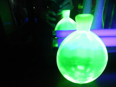 Flask  Shaped Bottle Pontil Uranium Glass Pairpoint