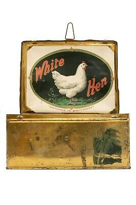 "Scarce 1900s ""White Hen"" litho lunch pail 50 cigar tin in very good condition"