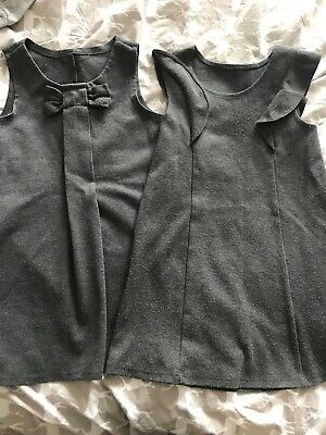 2 X Girls Grey School Dresses Age 4-5 Years Great For Spares