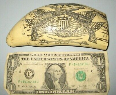 "Scrimshaw Sperm whale tooth resin REPRODUCTION ""EL PASO""  Texas 6 inch Pistols"