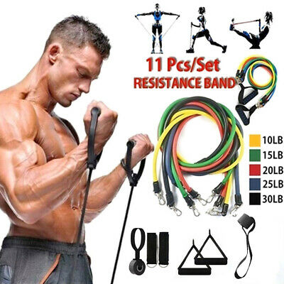 11Pcs Resistance Bands Set Pull Rope Gym Home Fitness Workout Crossfit Yoga Tube