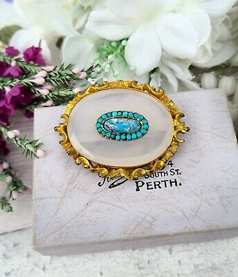 Antique Victorian Gold Pinchbeck Large Ornate Chalcedony and Turquoise Brooch