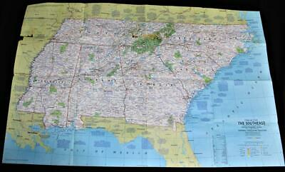 The National Geographic Map Close Up Usa Southeastern States 1975 Vintage