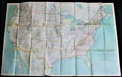 The National Geographic Society Map Of The United States 1933 Vintage