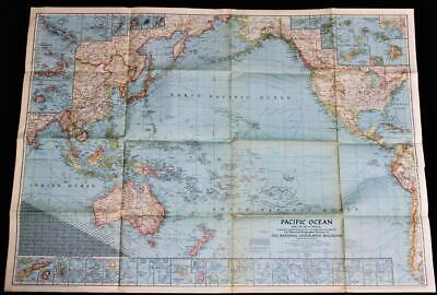 The National Geographic Society Map Of The Pacific Ocean 1943 Wwii Vintage