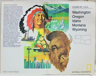 The National Geographic Map Close Up Usa Northwestern States 1973 Vintage