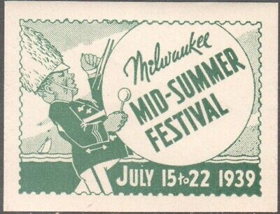 Poster Stamp * USA *MILWAUKEE MID-SUMMER FESTIVAL  1939*