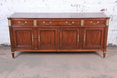 Baker Furniture French Louis XVI Directoire Style Walnut and Brass Sideboard