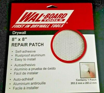 "Wal-Board Tools 8"" X 8"" DRYWALL REPAIR PATCH 049727540079 54-007 Made in USA!"