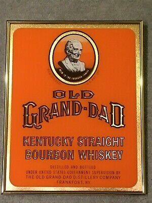 Vintage Old Grand-Dad Kentucky Straight Bourbon Whiskey Bar Glass Foil Sign