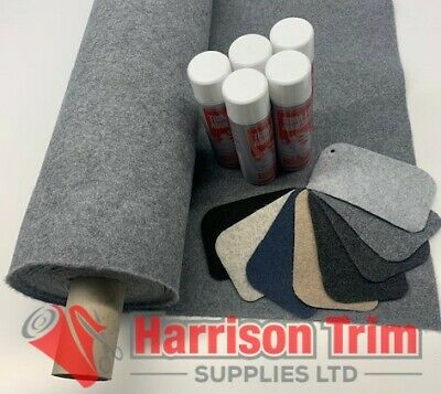 10 sqm EASYLINER SMOKE GREY (4 WAY STRETCH) CAMPA VAN LINING CARPET + 5 TRIMFIX
