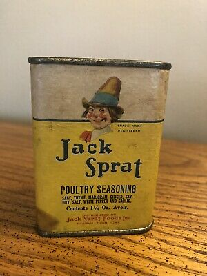 Vtg Jack Sprat Poultry Season Spice Tin 1 3/4Oz Marshalltown Iowa Paper Label