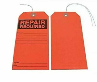 GRAINGER APPROVED Repair Required Tag,Blck/Red,Paper,PK25, 30ZC74