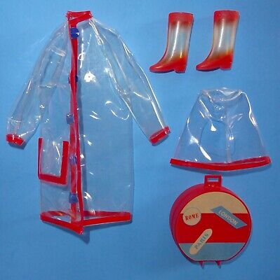 Vintage Francie Clear Out! #1281 Raincoat, Hood, Hatbox & Boots