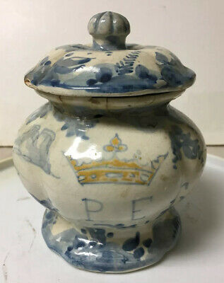 Early Antique Hand Painted Pottery Faience Apothecary Medicine Covered Jar P.e