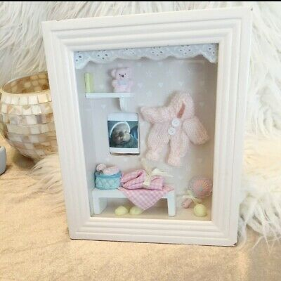 Wood Framed Shadow Box 3D Gift For Baby Girl Room Decor