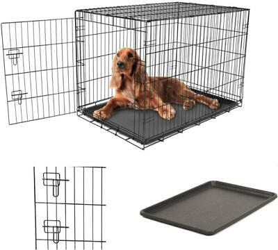 Secure Foldable Single Door Metal Dog Crate Removable Washable Intermediate
