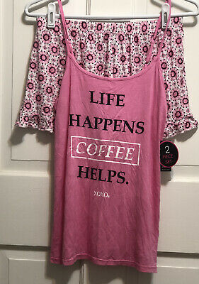 XOXO 2-Pc Stretch Rayon Shorty Pajamas Tank Top LIFE HAPPENS COFFEE HELPS Sz S M
