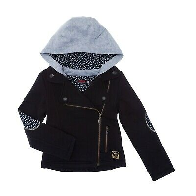 CATIMINI Girls black lined zip up jacket with grey hood & polka elbows patch 12y