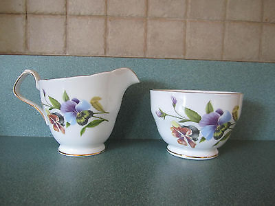 Royal Windsor FIne Bone China, England, Creamer and Open Sugar, PANSY, Gold Trim
