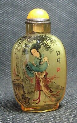 Chinese Glass Delicate Inside-drawing Diao Chan Snuff Bottle=**