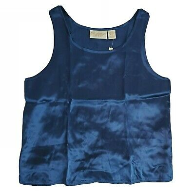 NWT Vtg Victorias Secret Pajama Silk Sleeveless Top Gold Label Navy Blue Cami S