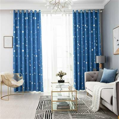Bedroom Star Moon Print Blackout Curtains Living Room Shading Window Blinds MP