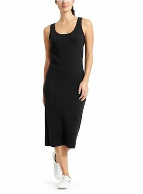 Athleta NWT Horizons Midi Stripe Dress S MSRP $84 black short sleeve slimming