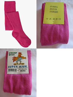 NEW X-STORE GIRLS AGE 1-2 YRS (86/92cm) FUCHSIA THICK COTTON RICH TIGHTS BNWT