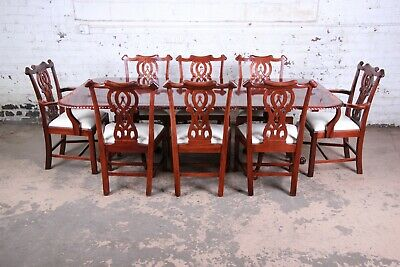 Chippendale Banded Mahogany Double Pedestal Dining Table With Eight Chairs