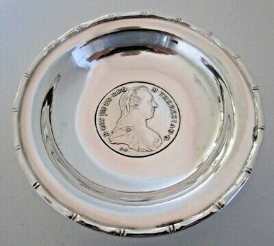 Chinese Export Silver M.Thereas 1780 Coin Dish, Wai Kee, Hong Kong