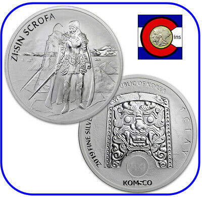 2019 South Korea ZI:SIN Scrofa Ghost 1 oz Silver Coin in direct fit capsule