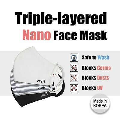 *Made in Korea* Triple Layer Face Mask with Nano Filter Reusable Handmade Mask